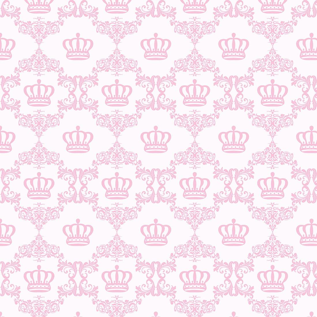 Papel de Parede Baby Coroa e Arabesco Rosa Claro