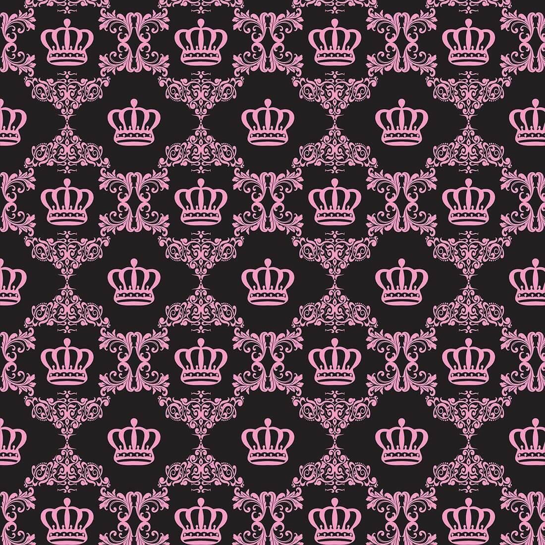 Papel de Parede Baby Coroa Rosa e Preto