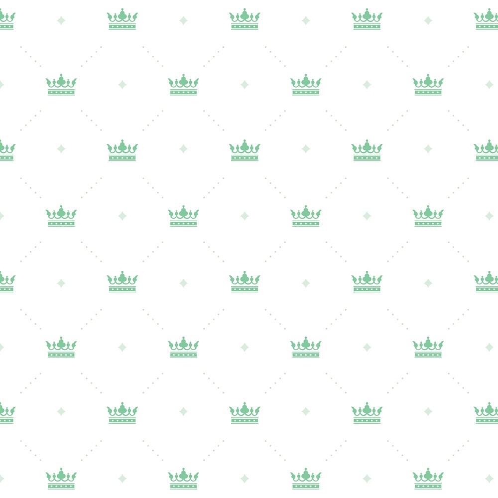 Papel de Parede Baby Coroa Verde Água