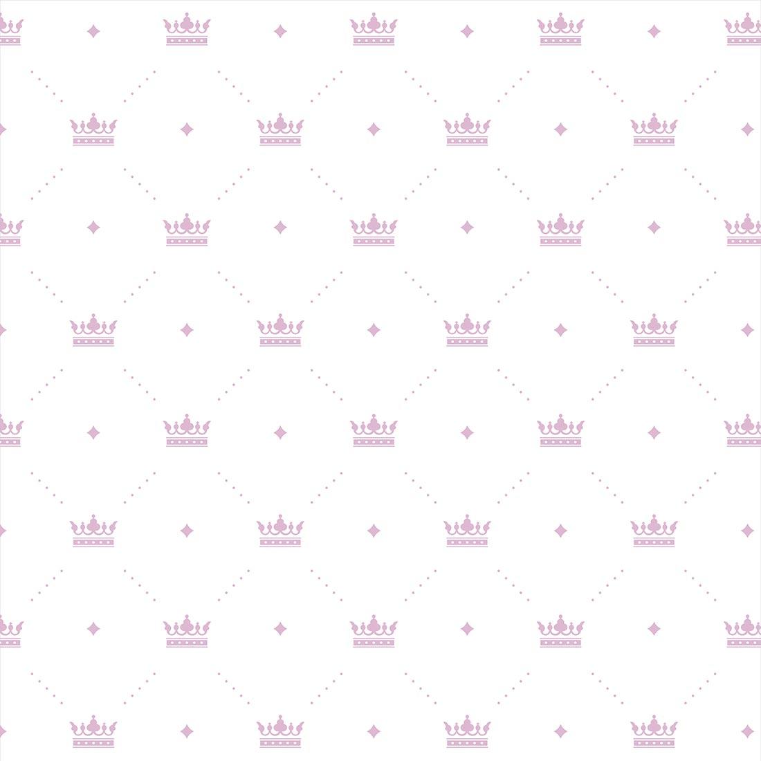 Papel de Parede Baby Coroas com Poá Lilas