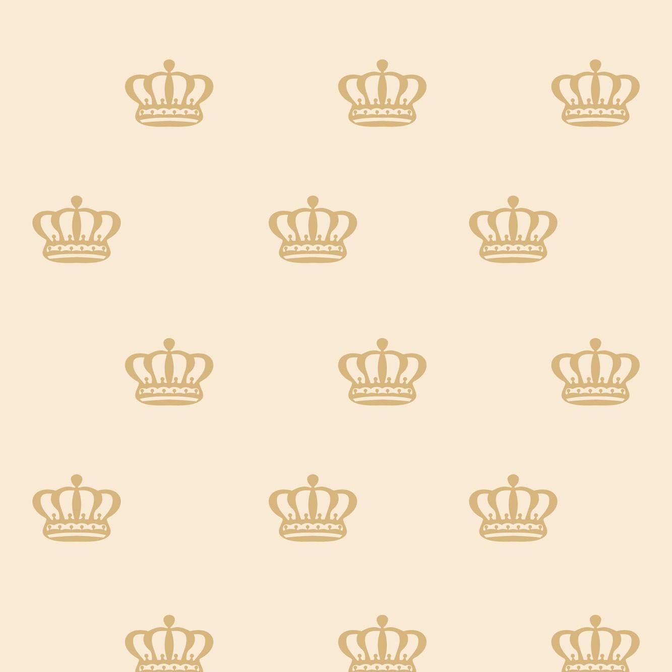 Papel de Parede Baby Coroas Douradas Fundo Nude