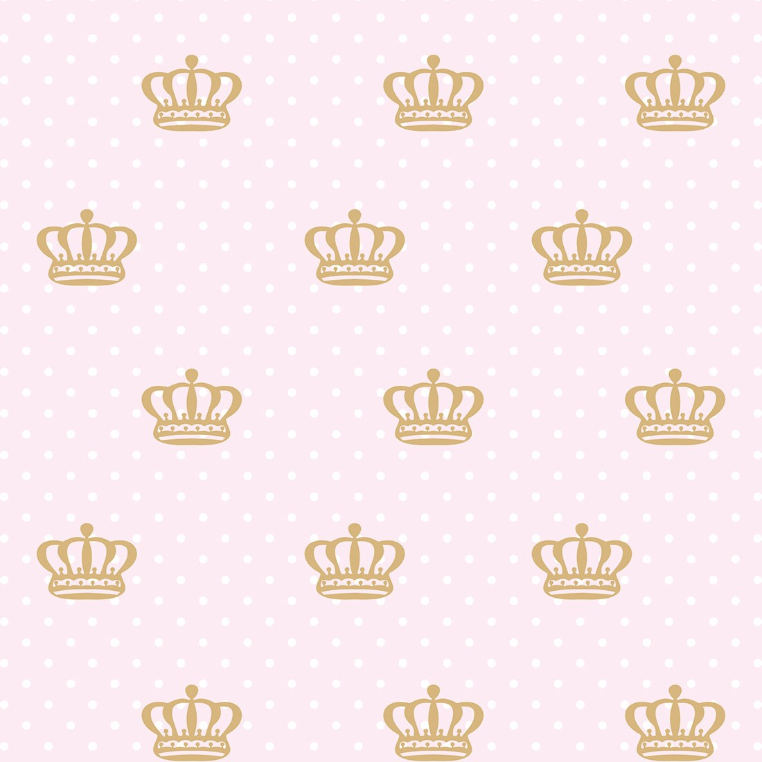 Papel de Parede Baby Coroas Douradas Fundo Rosa