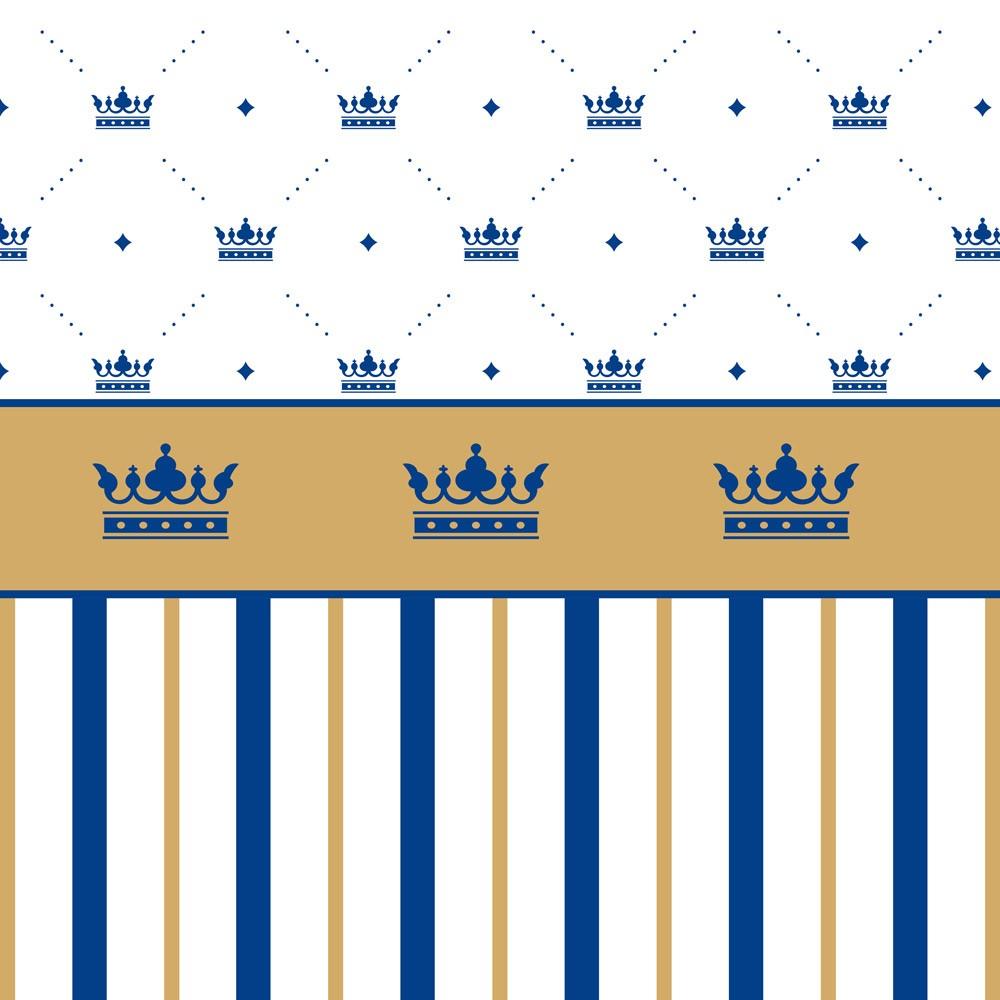 Papel de Parede Baby Coroas e Listras Azul e Branco