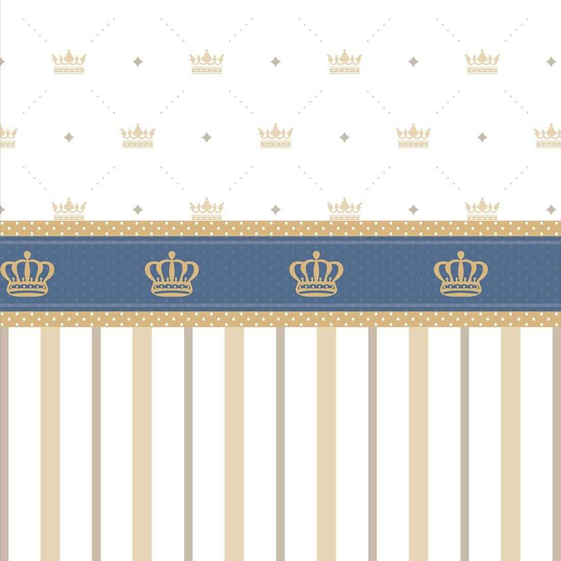 Papel de Parede Baby Coroas e Listras Bege e Azul