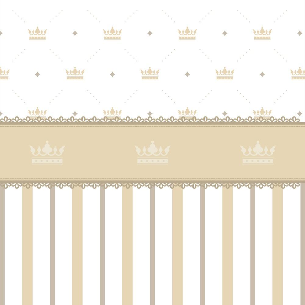 Papel de Parede Baby Coroas e listras Bege e Branco