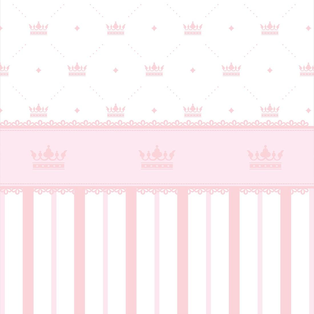 Papel de Parede Baby Coroas e Listras Rosa Claro