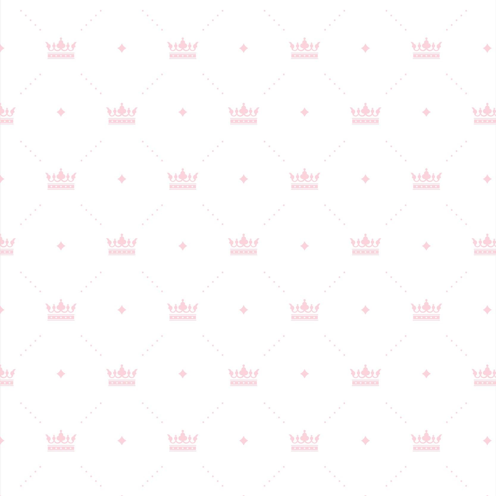 Papel de Parede Baby Coroas Rosa Claro