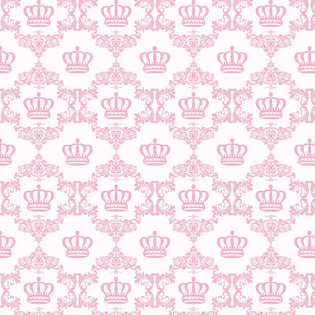 Papel de Parede Baby Coroas Rosa Claro com Arabesco