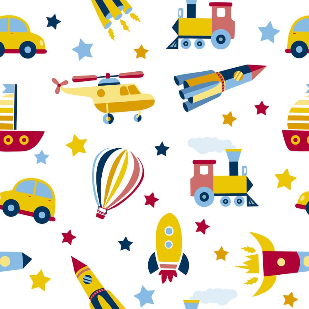 Papel de Parede Baby Foguete, Trem, Balão, Carro, Barco e Helicóptero