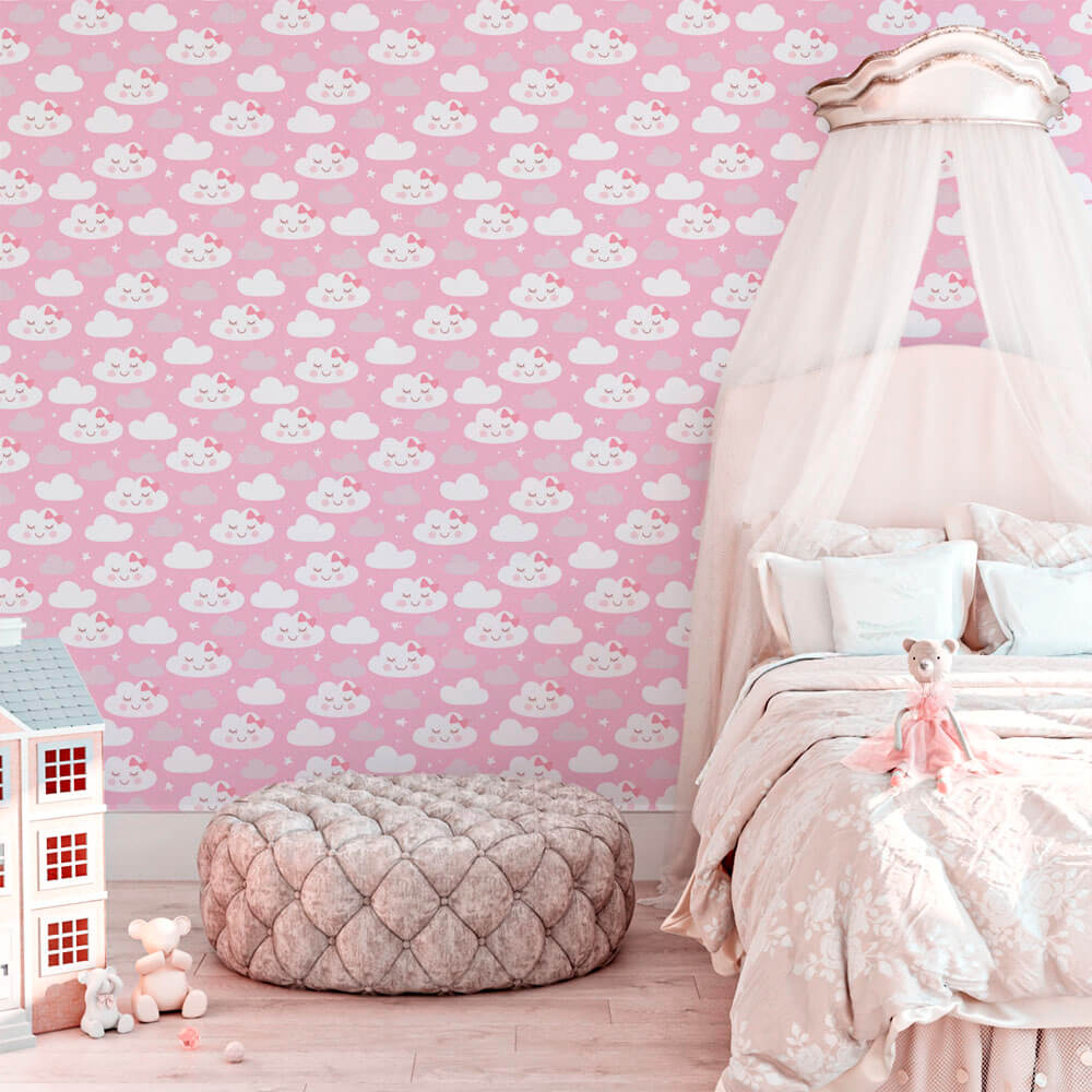 Papel de Parede Baby Girl Rosa Nuvem Branca