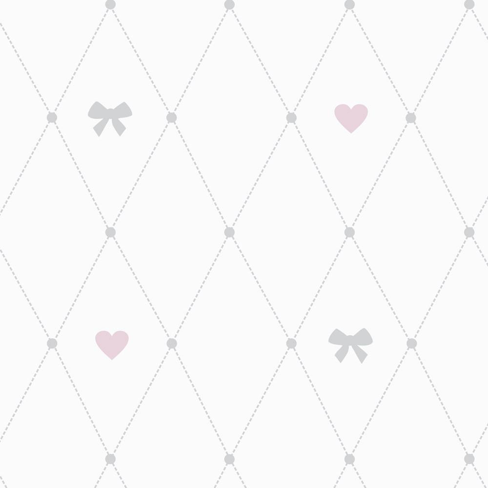 Papel de Parede Baby Lacinhos e Corações