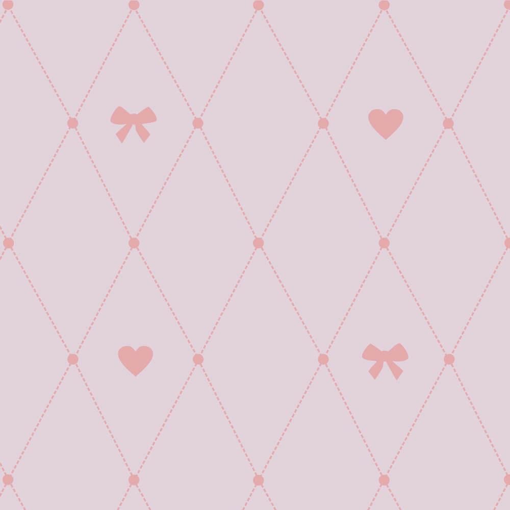 Papel de Parede Baby Laço e Coração Rosa