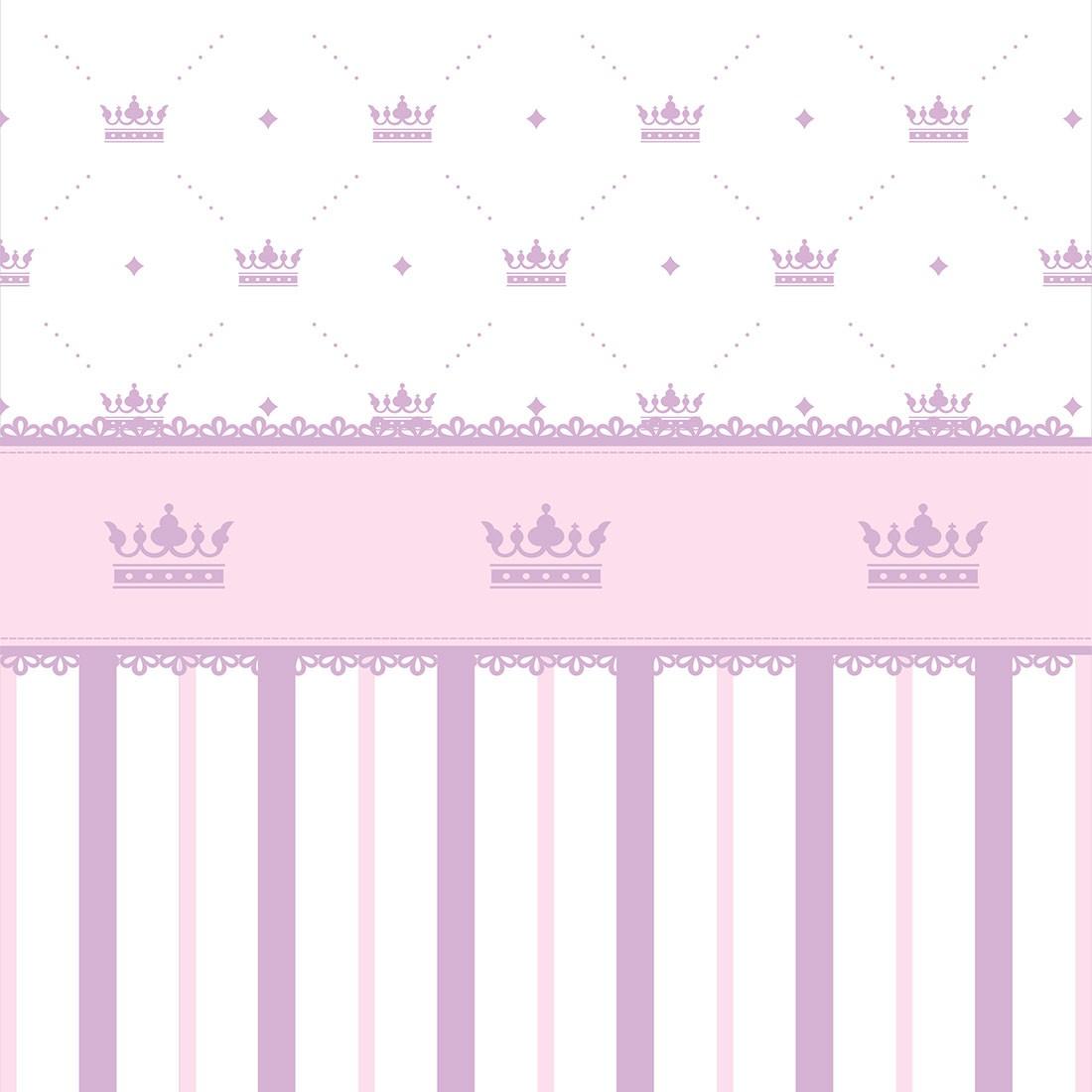 Papel de Parede Baby Lilás Listras e Coroas