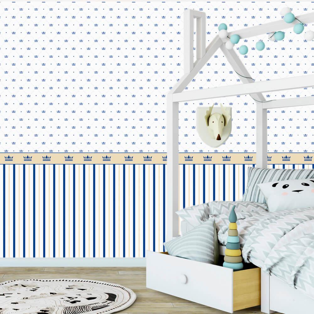 Papel de Parede Baby Listras e Coroas Azul e Bege