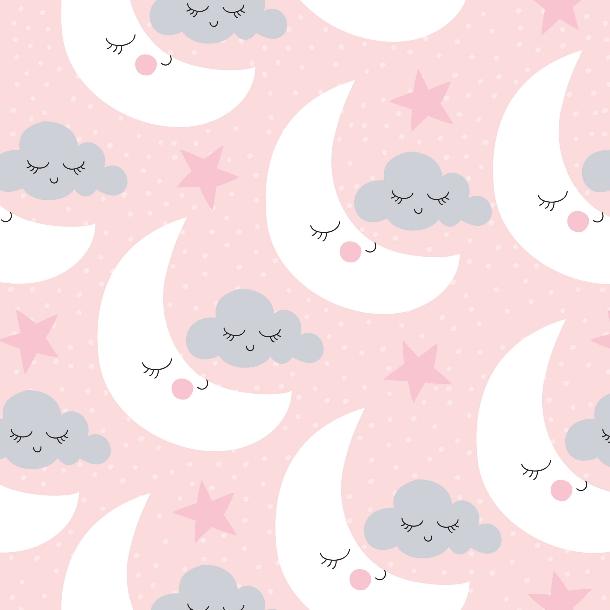 Papel de Parede Baby Lua Branca Fundo Rosa