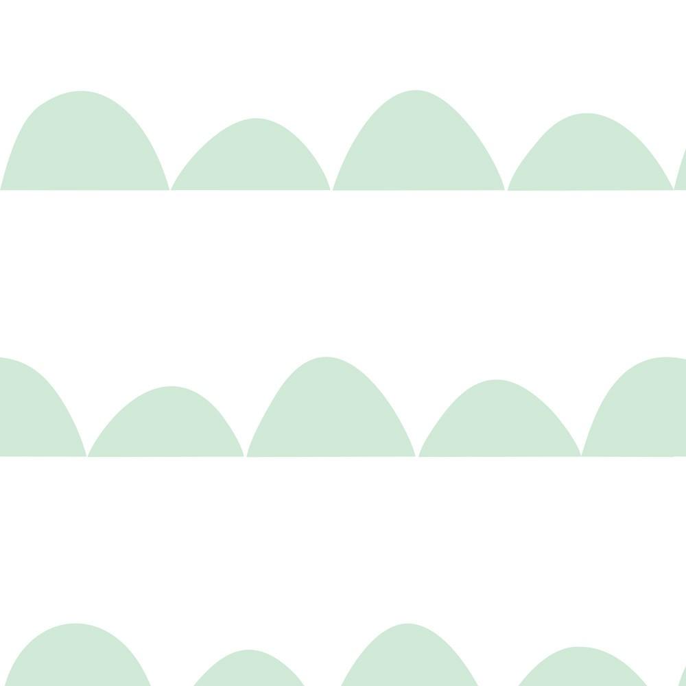 Papel de Parede Baby Montanha Verde Fundo Branco