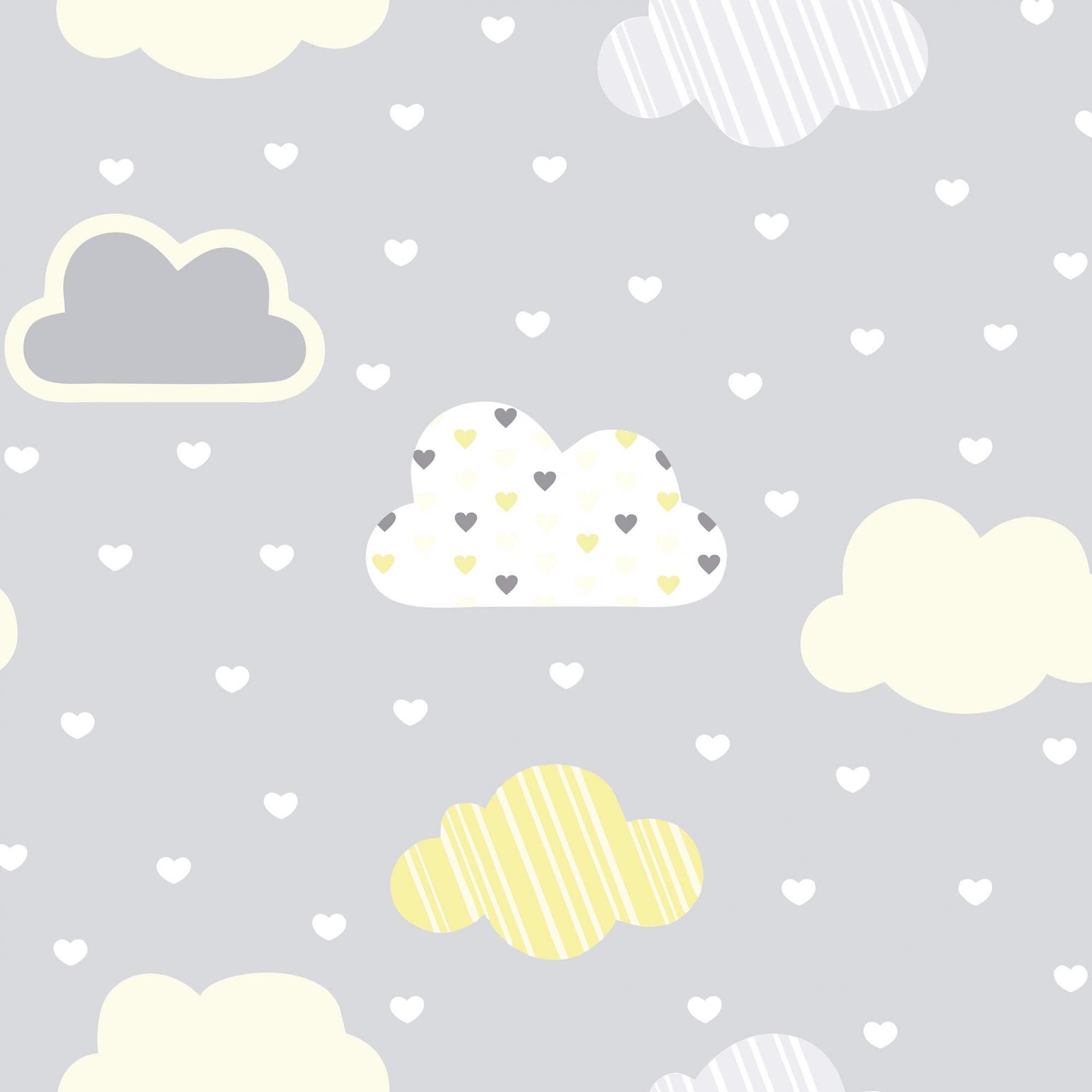 Papel de Parede Baby Nuvem Amarela no Fundo Cinza
