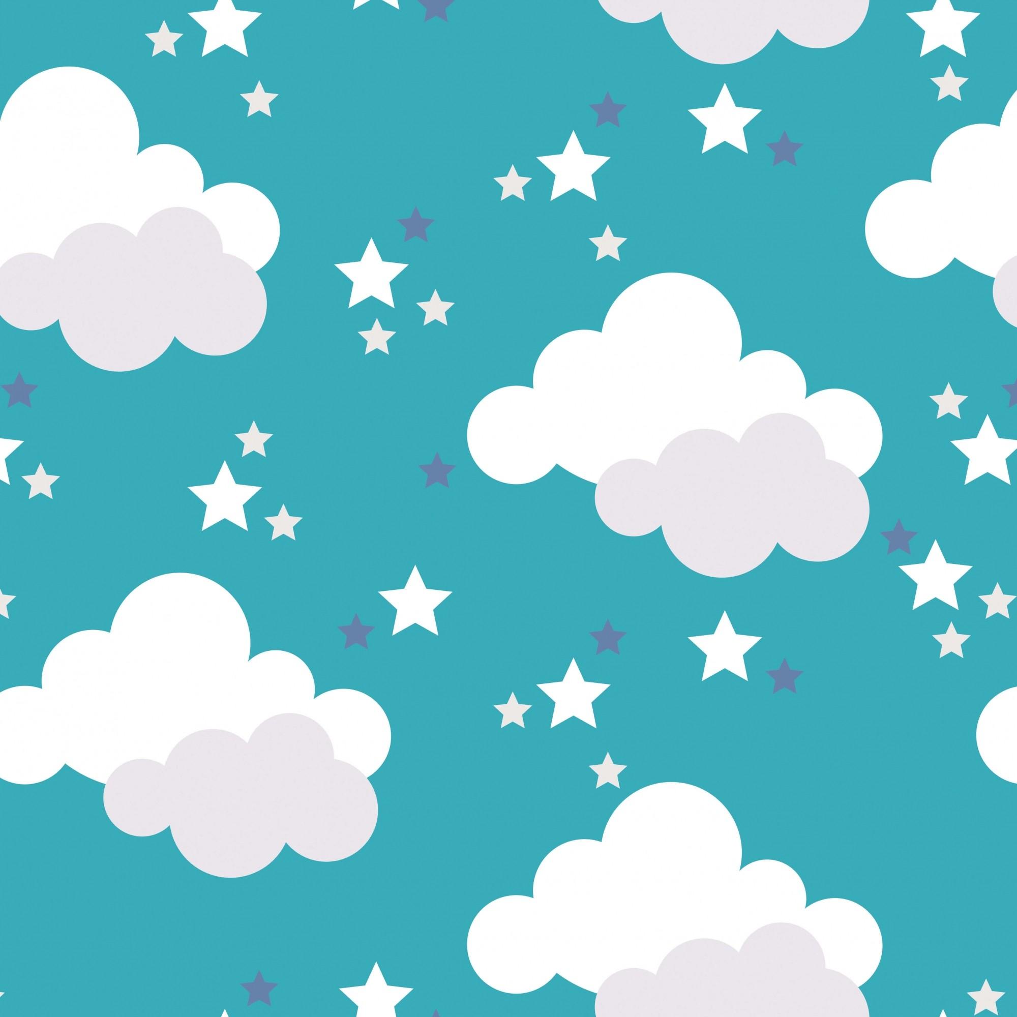 Papel de Parede Baby Nuvem Azul