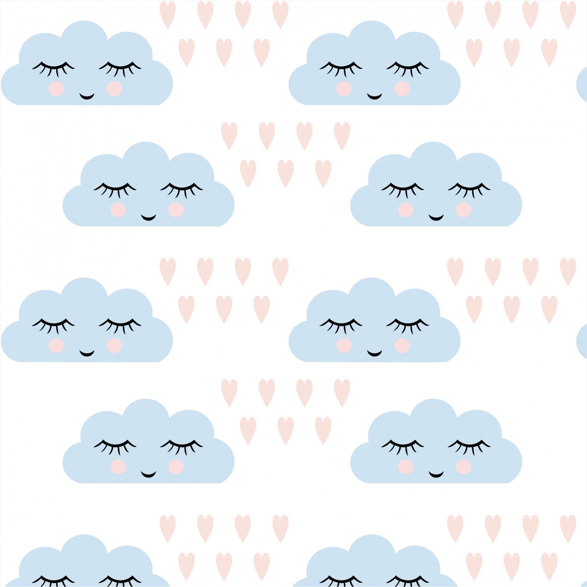 Papel de Parede Baby Nuvem Chuva De Amor Azul