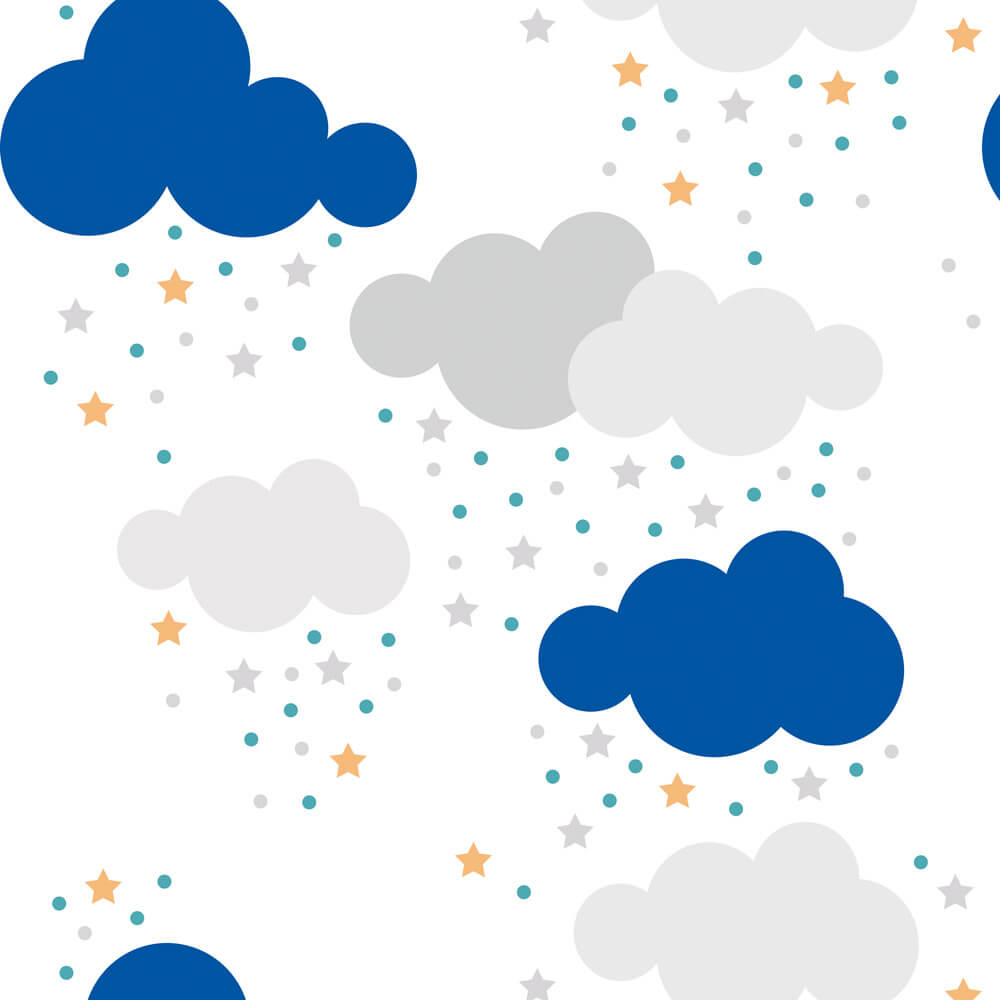 Papel de Parede Baby Nuvem, Estrela Azul e Cinza no Fundo Branco