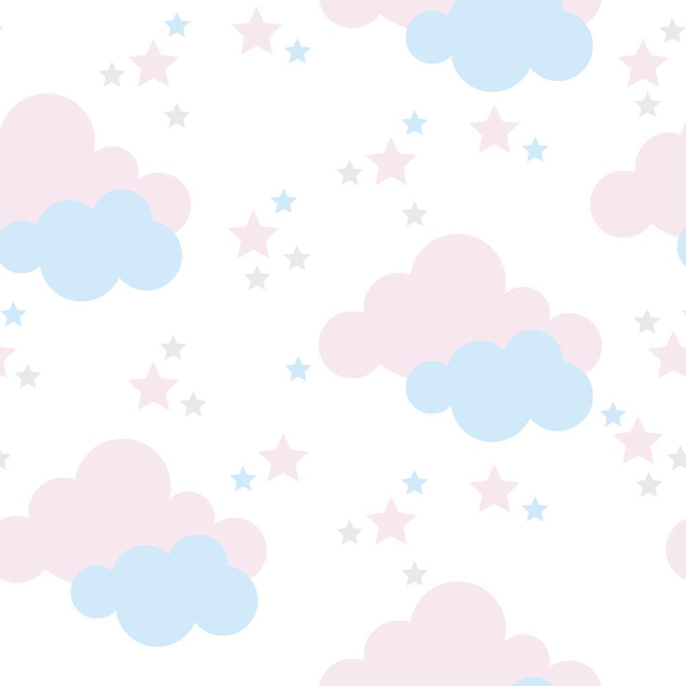 Papel de Parede Baby Nuvem, Estrela Azul e Rosa No Fundo Branco