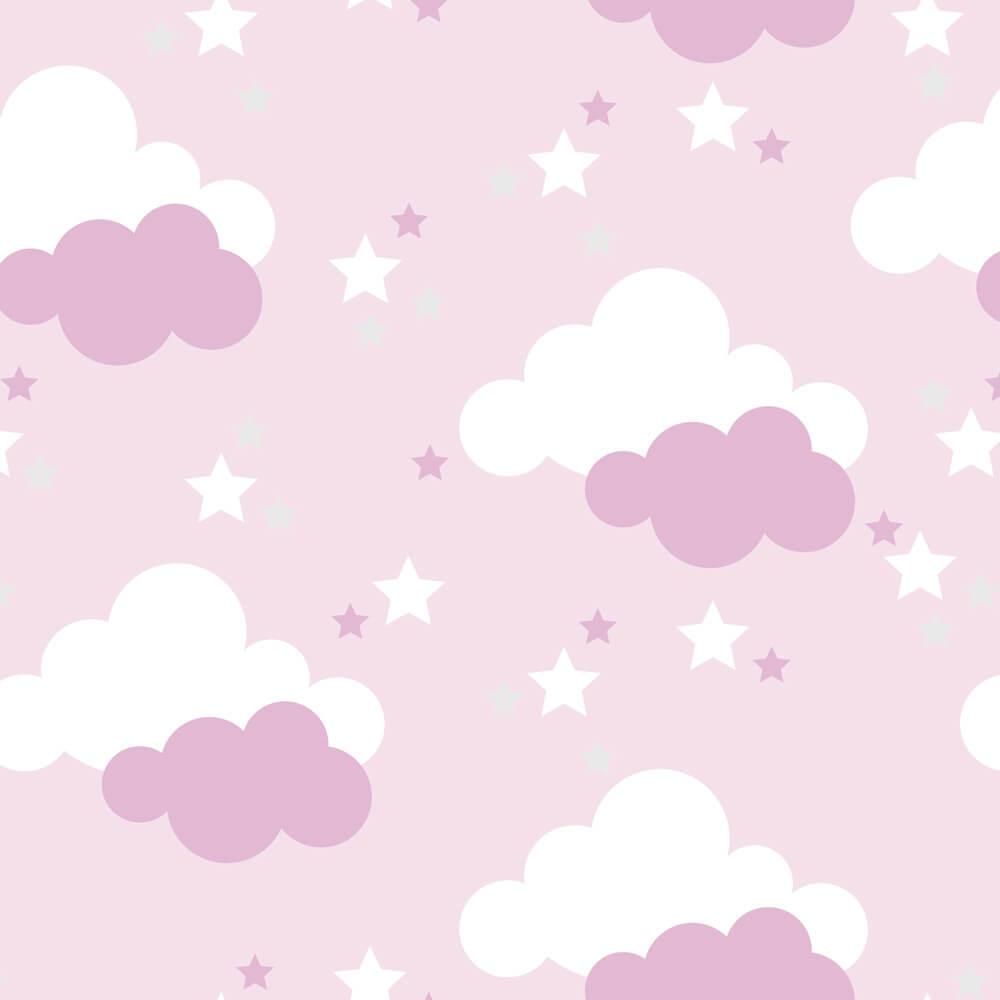 Papel de Parede Baby Nuvem, Estrela Branca e Rosa