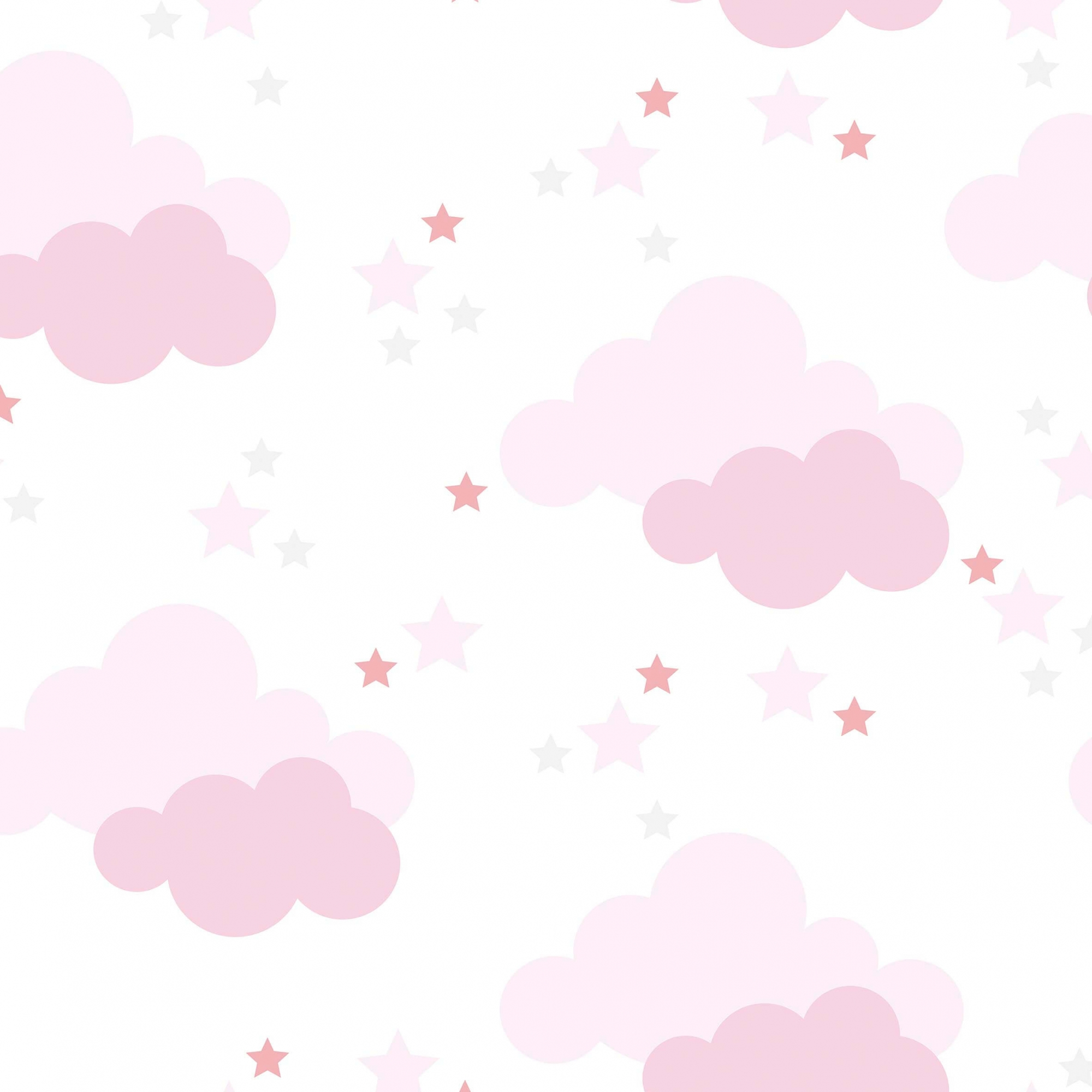 Papel de Parede Baby Nuvem, Estrela Rosa Claro No Fundo Branco