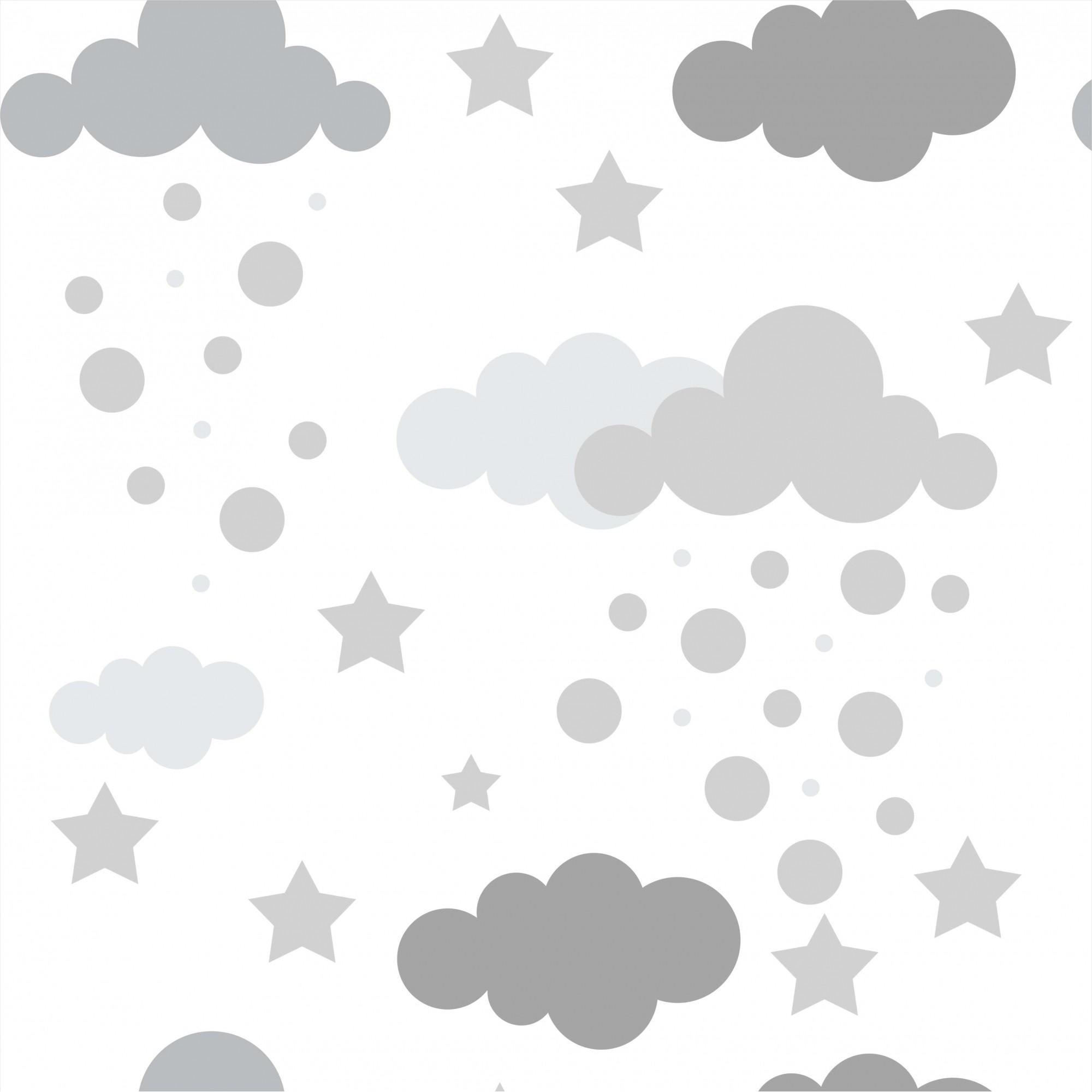 Papel de Parede Baby Nuvens Cinza Fundo Branco