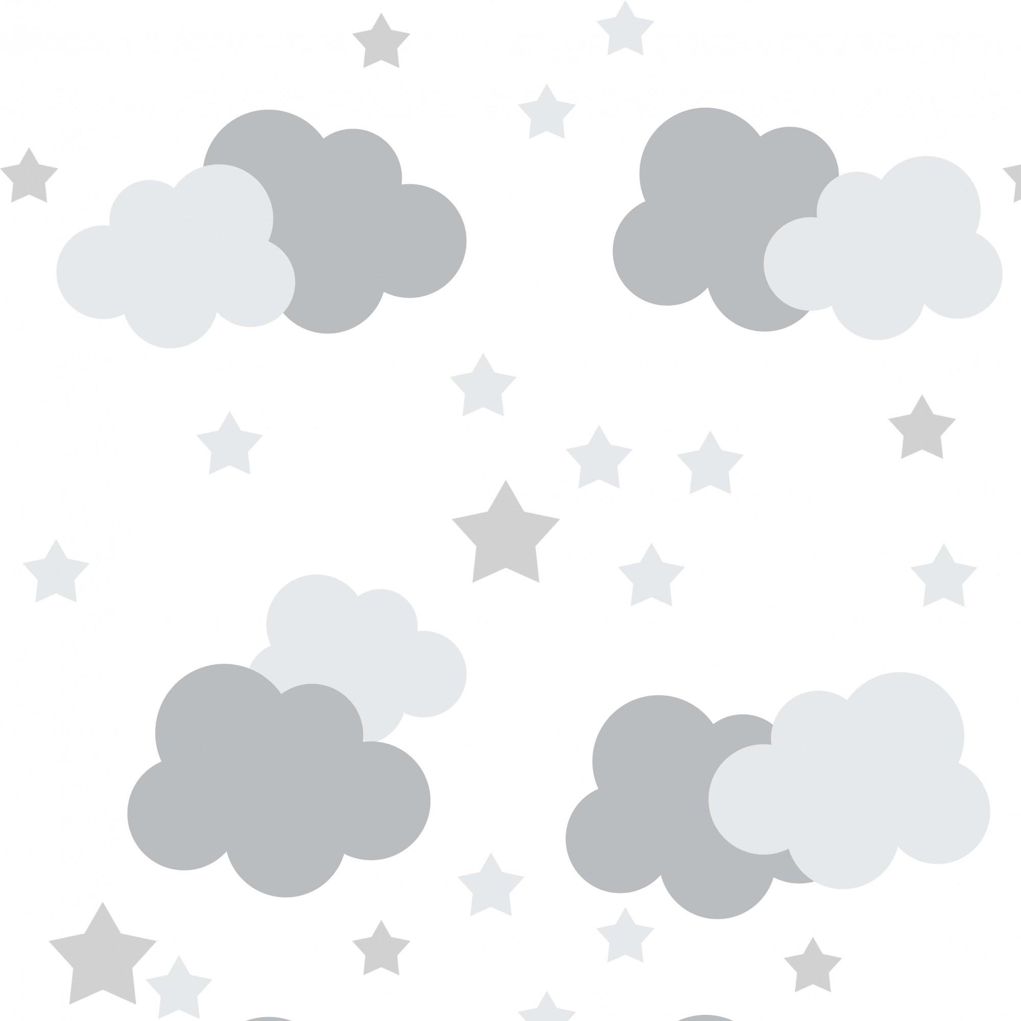 Papel de Parede Baby Nuvens Cinzas com Estrelas
