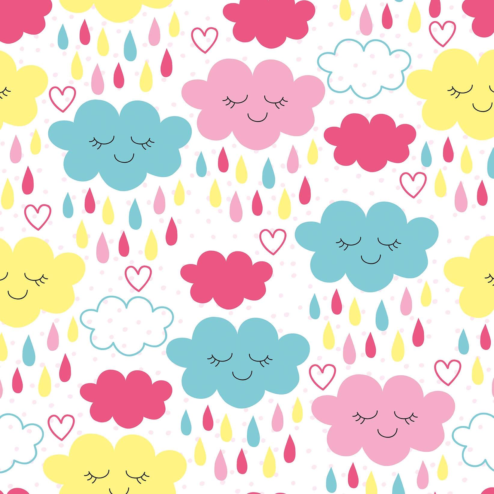 Papel de Parede Baby Nuvens Coloridas