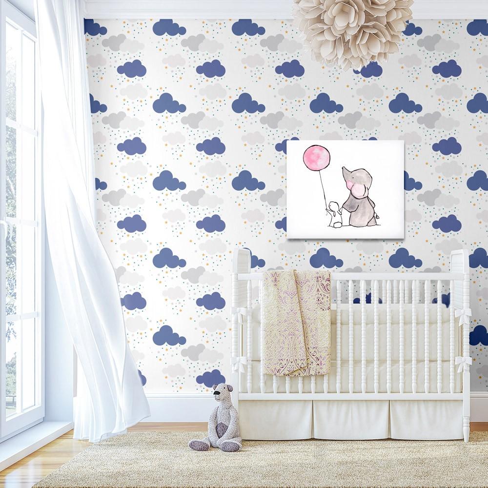 Papel de Parede Baby Nuvens e Estrelas Lilás Amarela e Branca