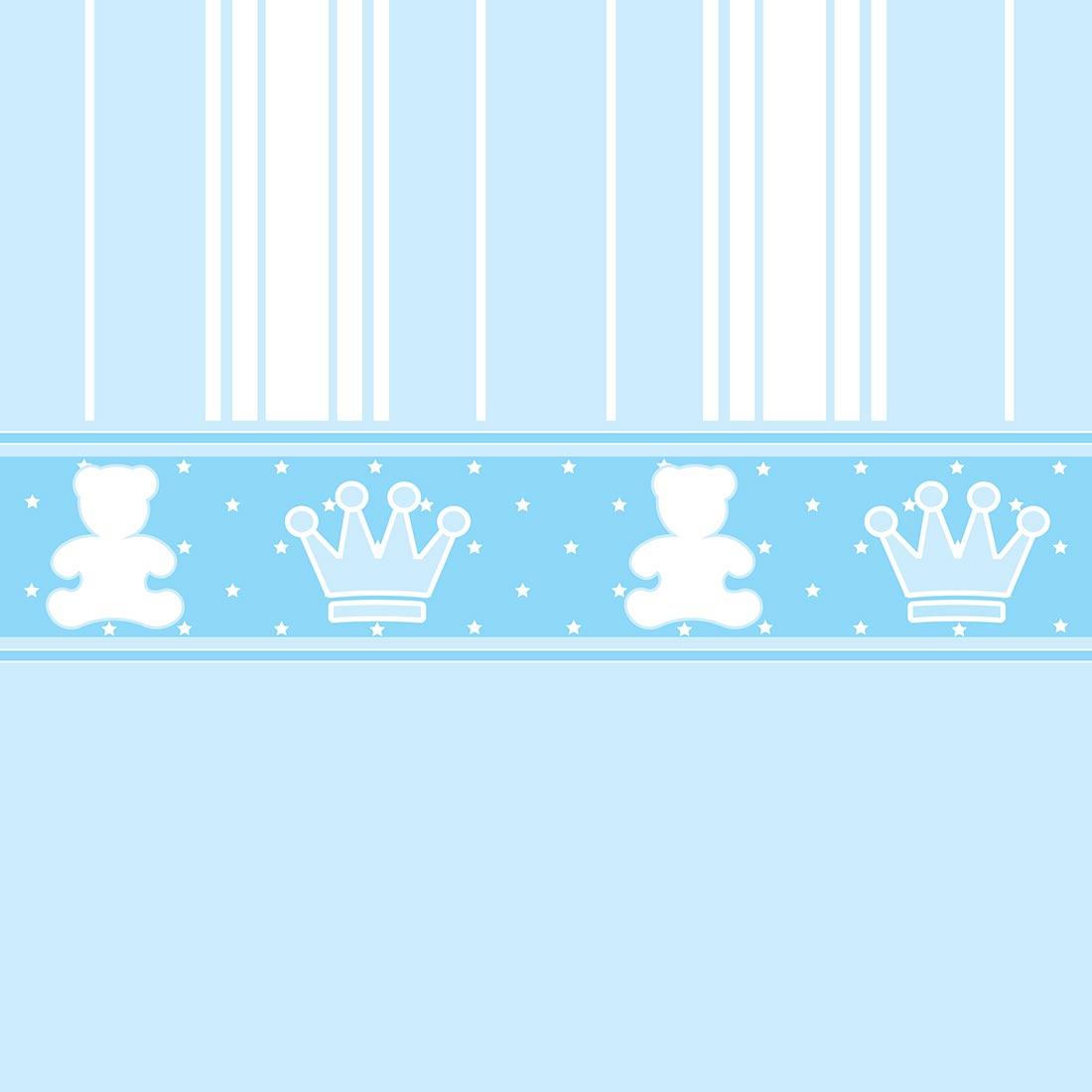Papel de Parede Baby Ursinho Coroa Azul