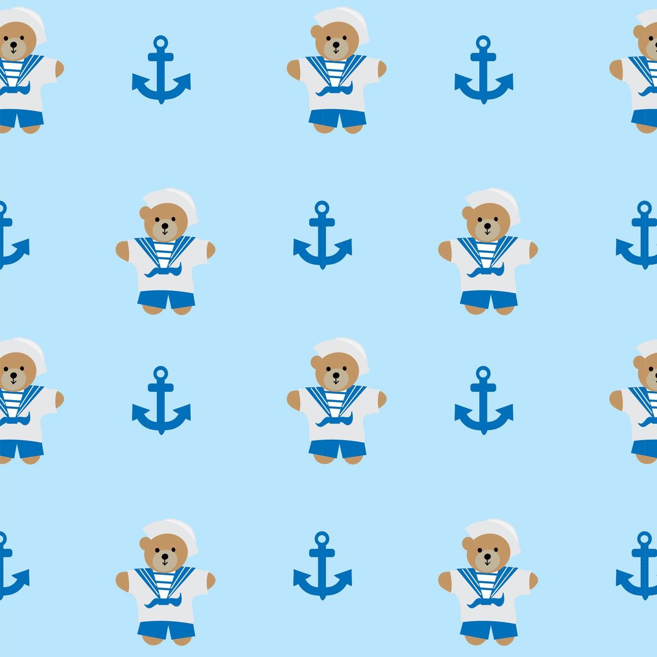 Papel de Parede Baby Ursinho Marinheiro Azul