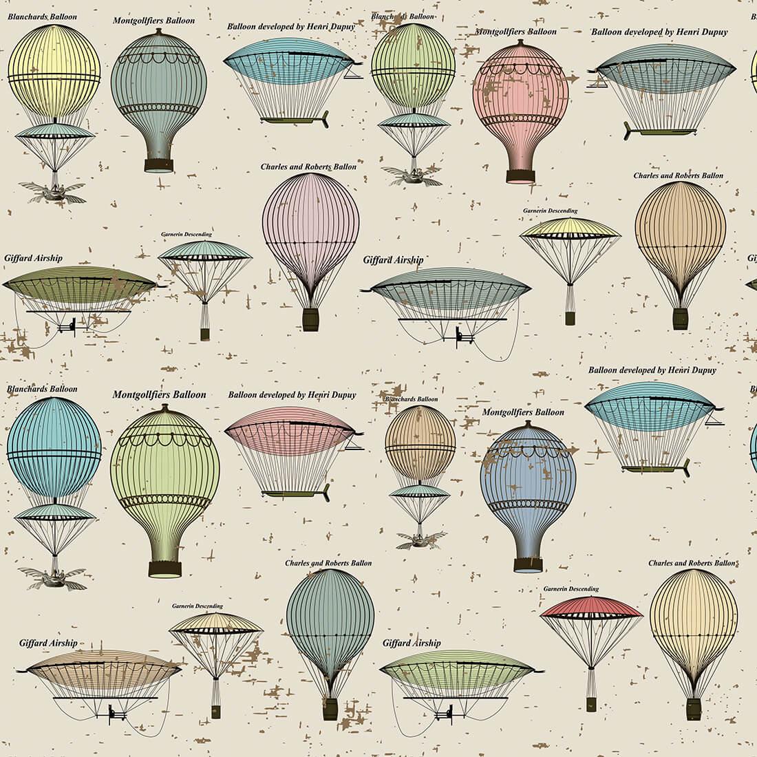 Papel de Parede Casual Balões Invenções