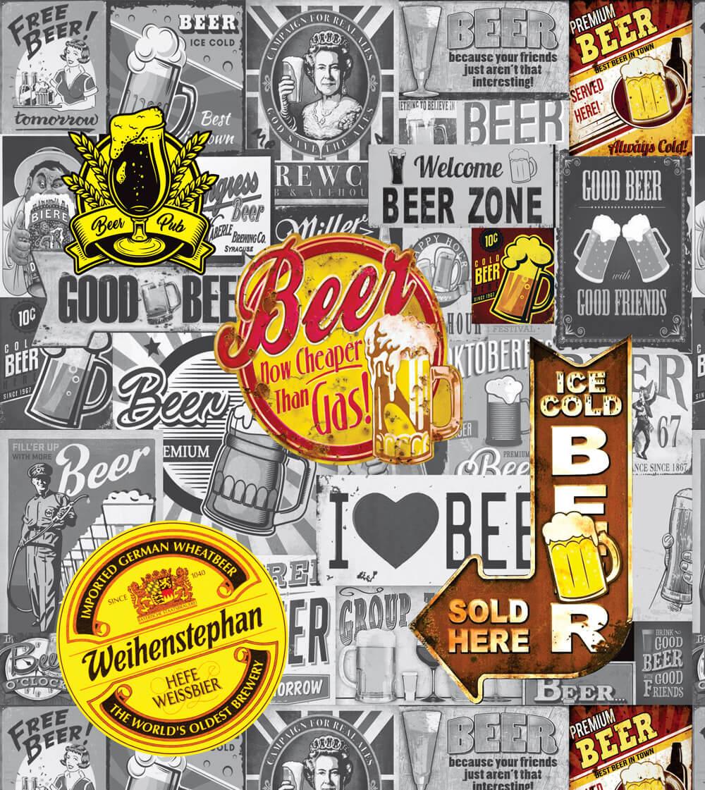 Papel de Parede Casual Beer Cerveja Envelhecido