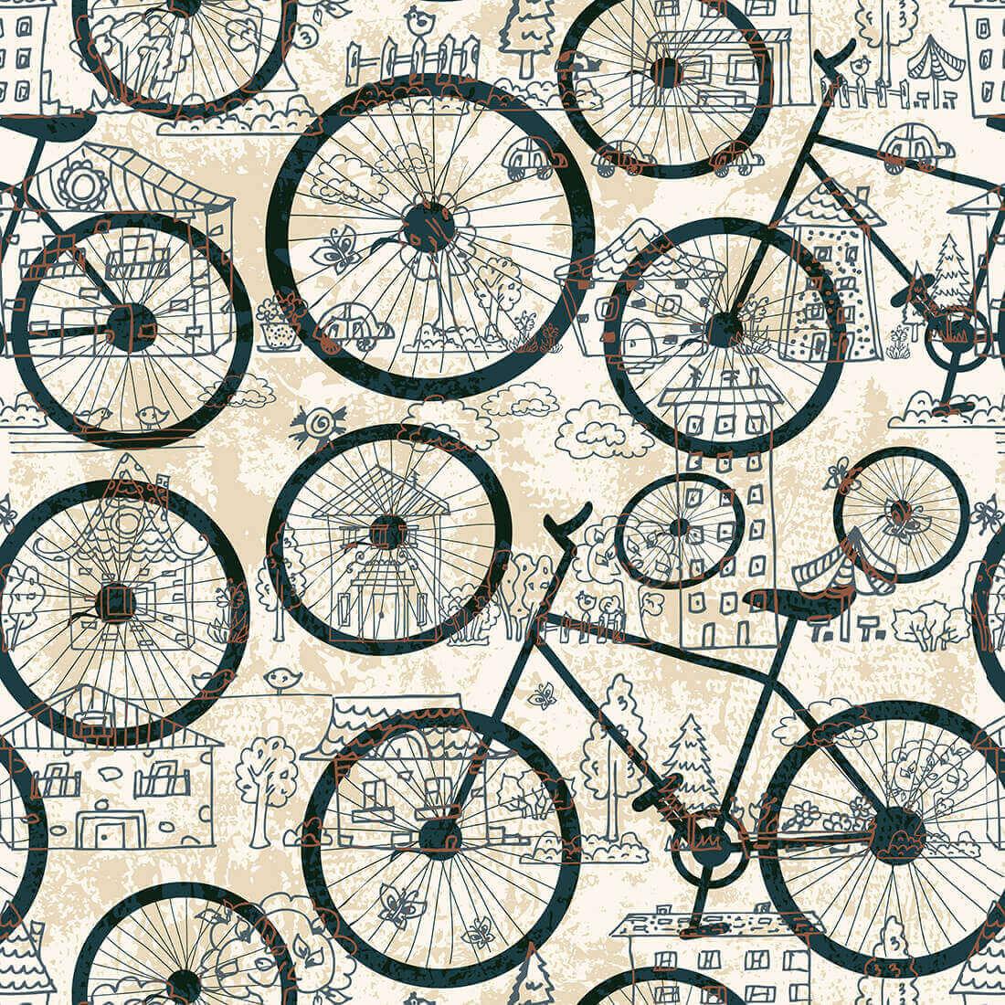 Papel de Parede Casual Bicicletas
