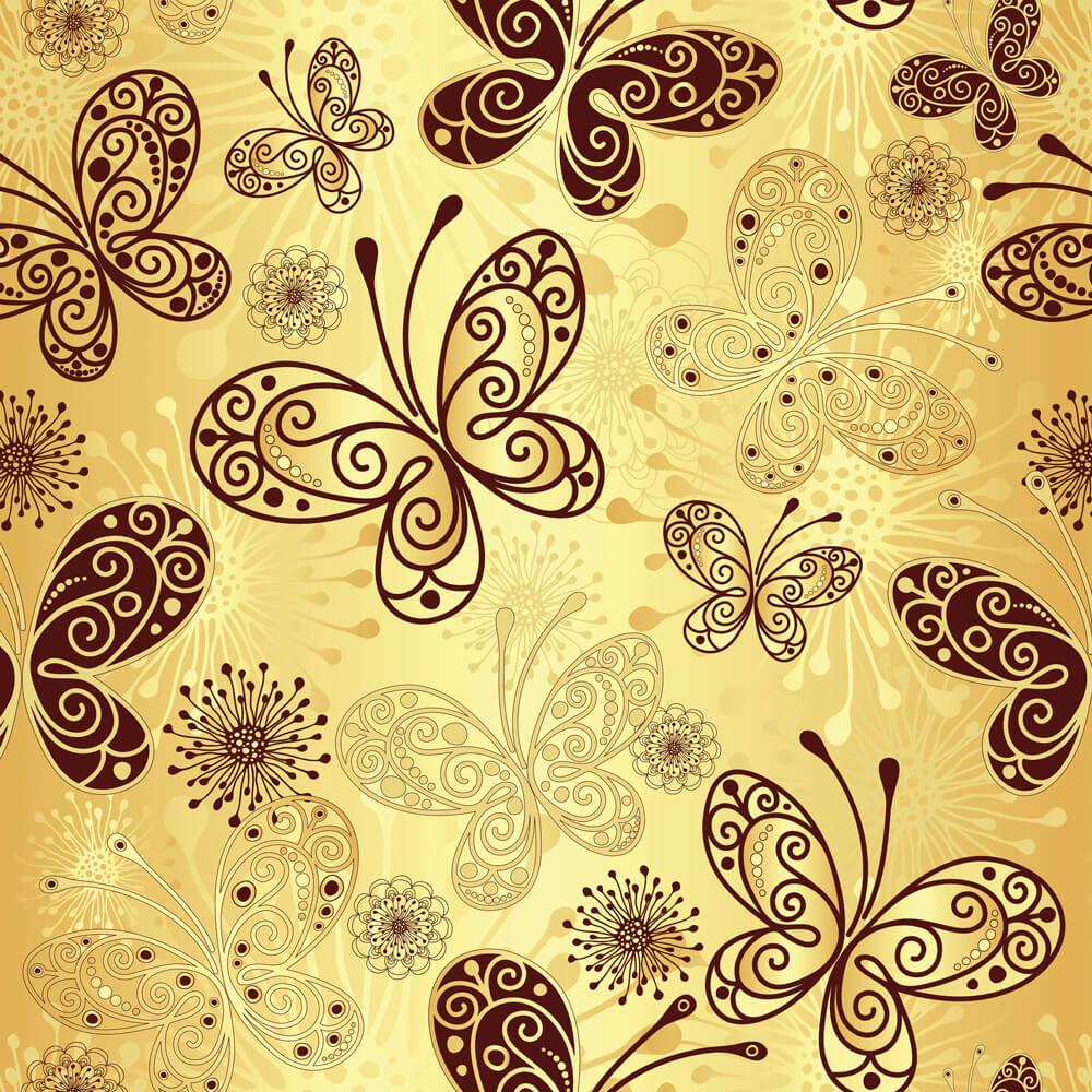 Papel de Parede Casual Borboletas Douradas