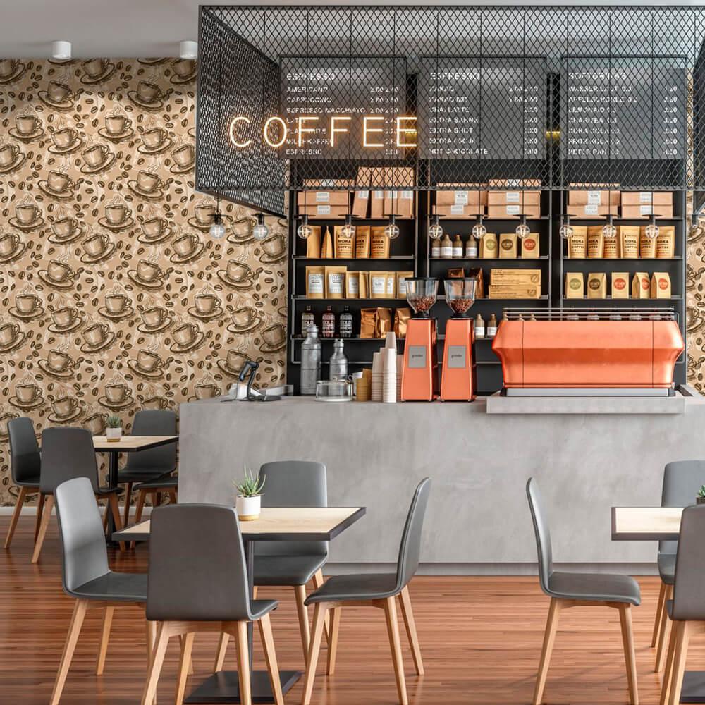 Papel de Parede Casual Café E Xícaras