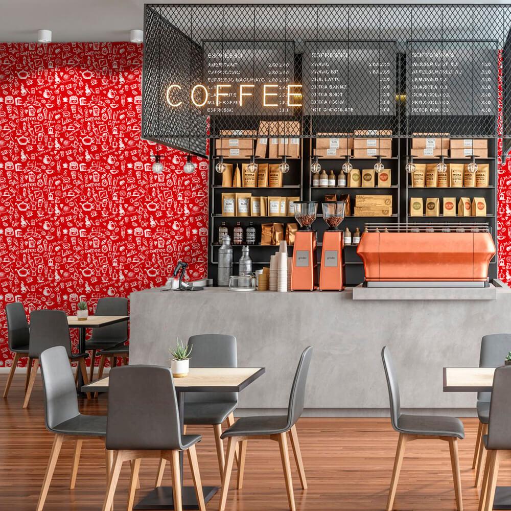Papel de Parede Casual Café Vermelho