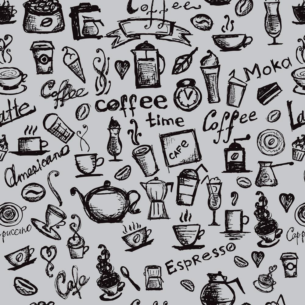 Papel de Parede Casual Coffee Fundo Cinza