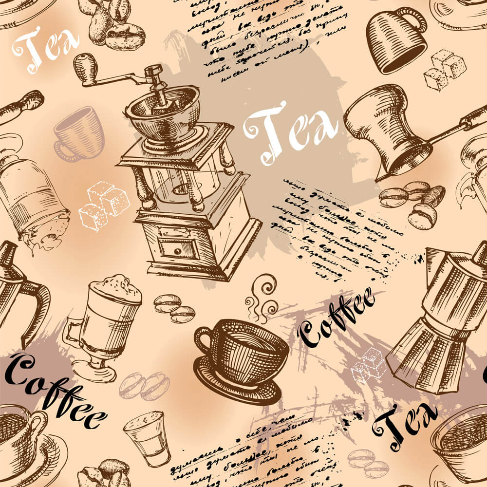 Papel de Parede Casual Coffee Tea