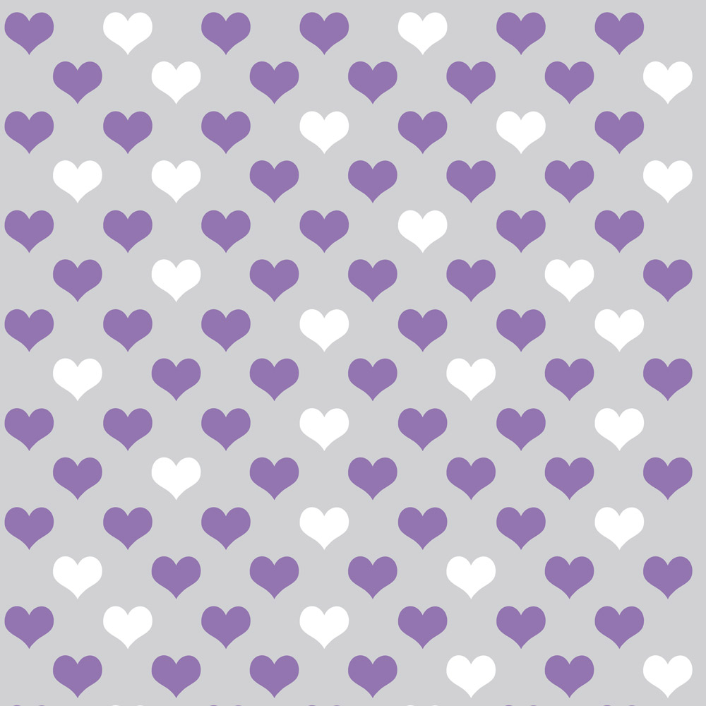 Papel de Parede Casual Coração Lilás