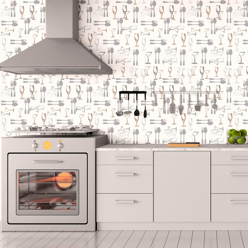 Papel de Parede Casual Cozinha Talheres e Taças