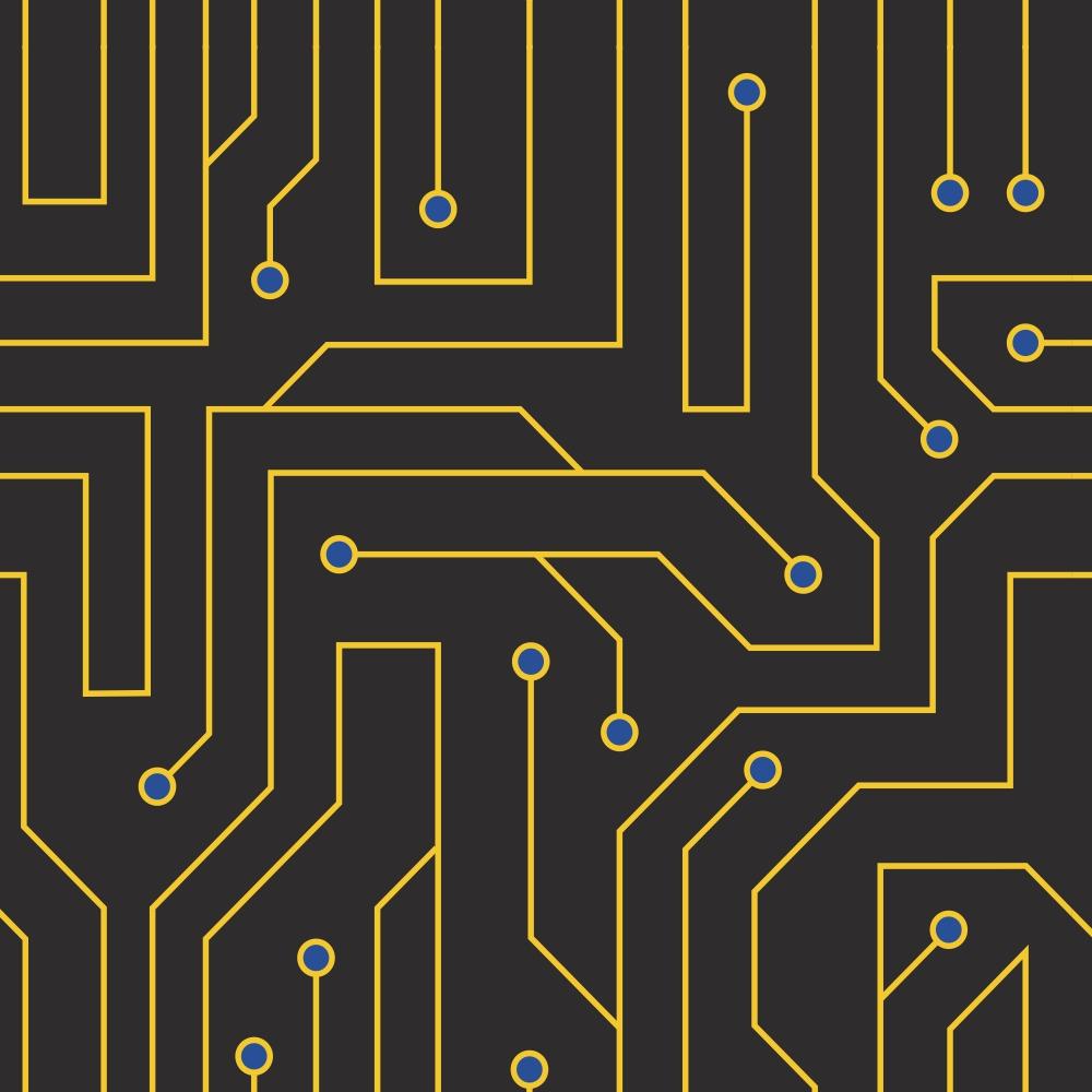 Papel de Parede Casual Informática Preto com Amarelo