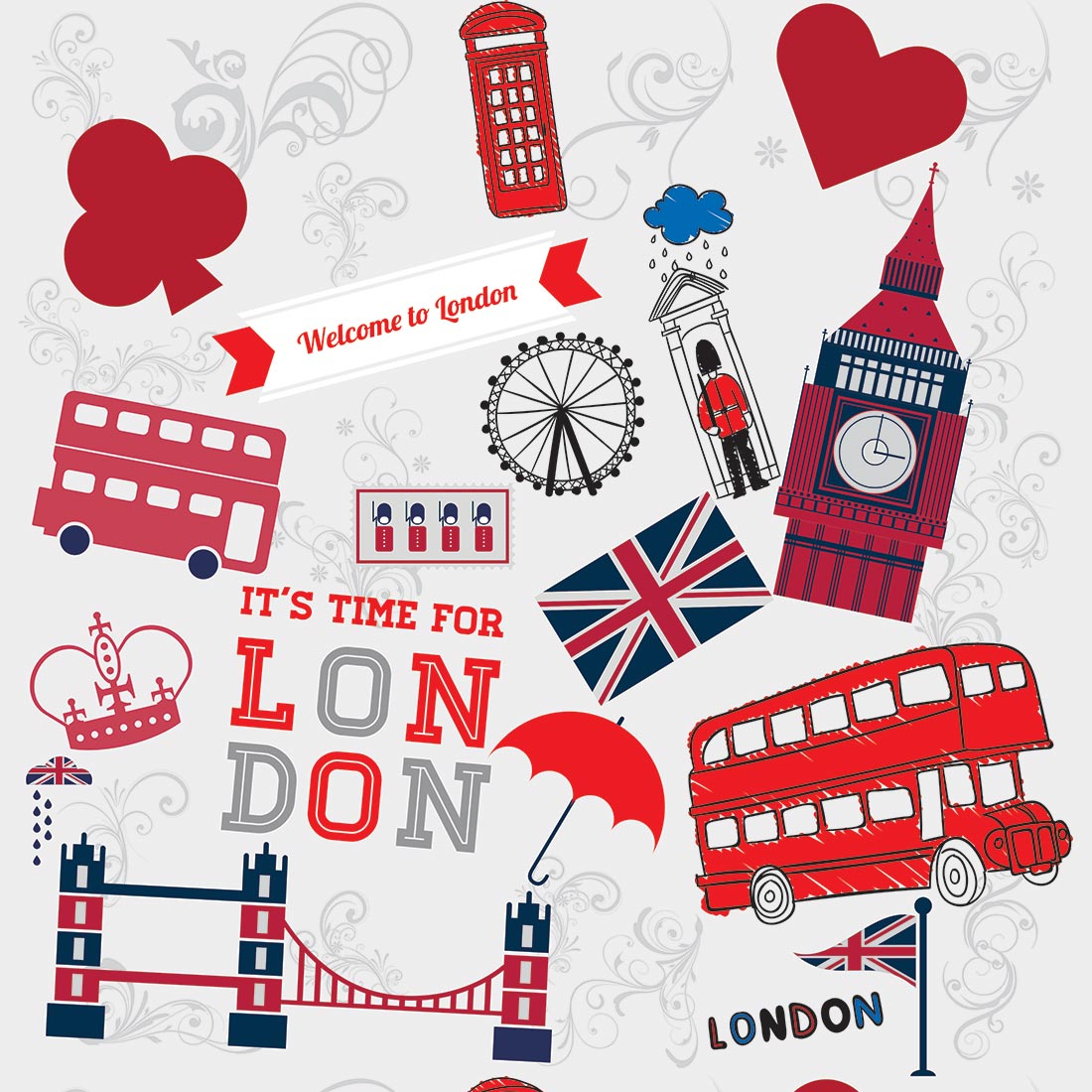Papel de Parede Casual London Pontos Turísticos