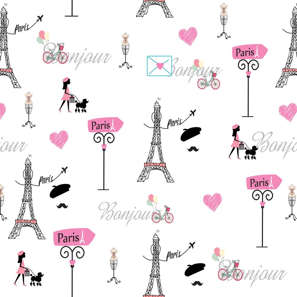 Papel de Parede Casual Paris Bonjour