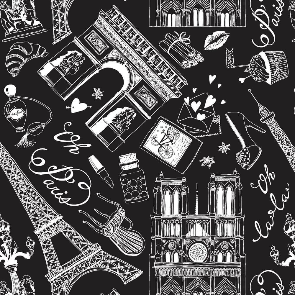 Papel de Parede Casual Paris Branco E Preto