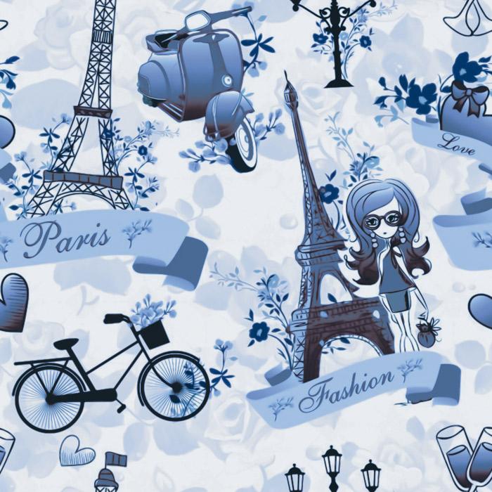 Papel De Parede Casual Paris Fashion Azul