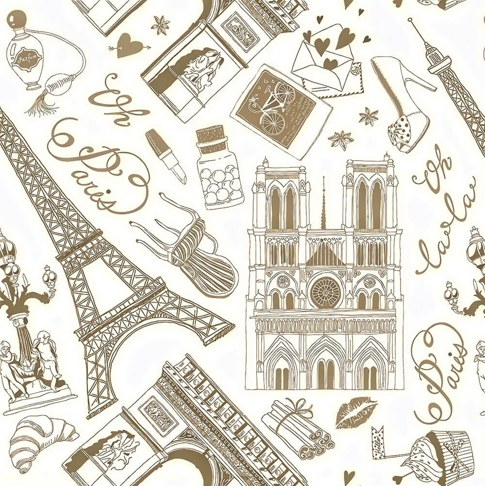 Papel de Parede Casual Paris Monumentos
