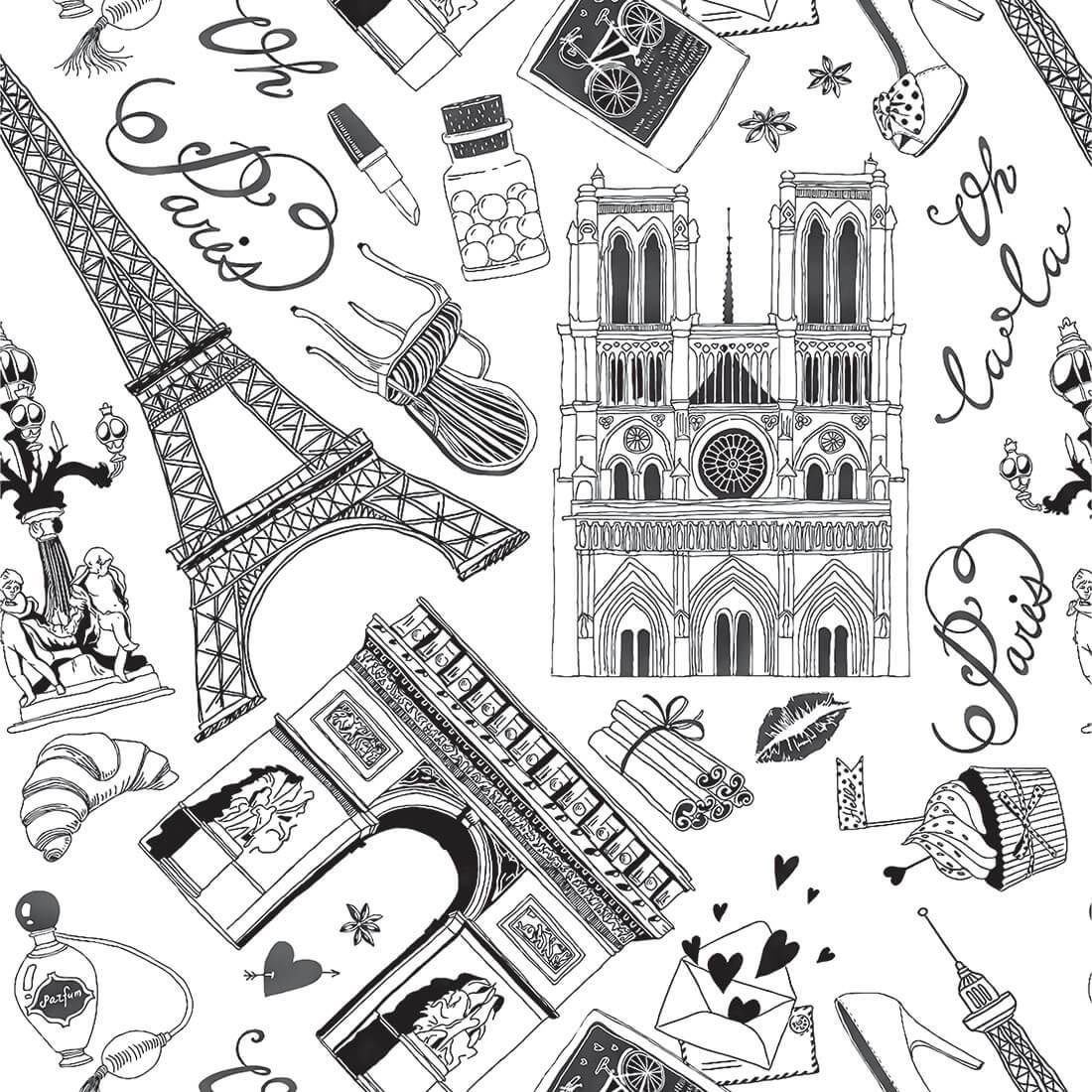Papel de Parede Casual Paris Monumentos Pretas